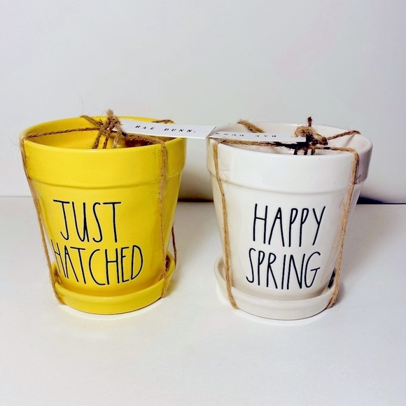 Rae Dunn JUST HATCHED/HAPPY SPRING set of planters
